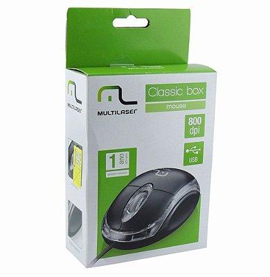 Mouse Multilaser Óptico Classic Preto 800Dpi Preto USB - MO179