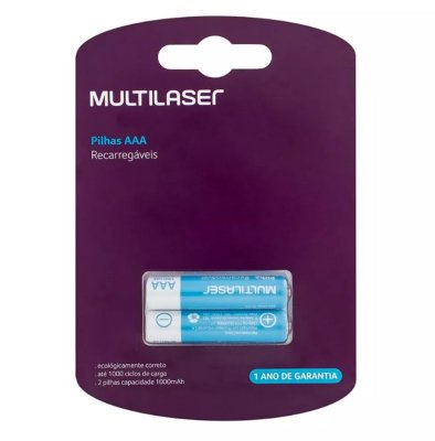Pilhas Recarregáveis AAA Multilaser 1000mAH com 2 Unidades - CB051