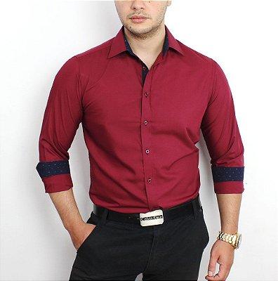 bedfbf1544 Camisa Social Masculina Azul Claro Slim Fit Algodão Egipcio - até 48 ...