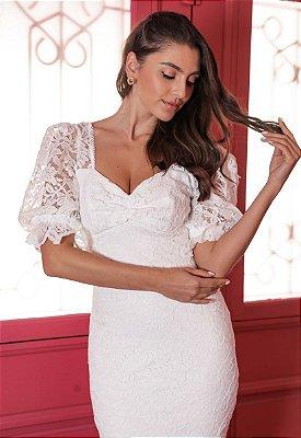 Vestido Giulia Branco Tubinho em Renda