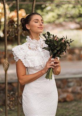 Vestido Melina Tubinho em Renda com Detalhes em Lesie