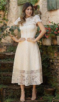 Vestido Dali Off White Midi em Renda