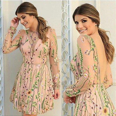 Vestido Florido com Forro Rose