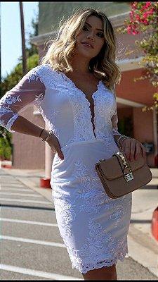 Vestido Branco Manuela em Renda e Manga