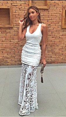 Vestido Longo Branco Aquarela em Renda