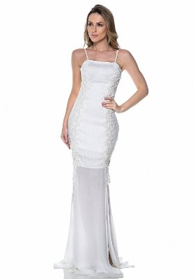 Vestido Branco Natália com Bordados