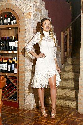 Vestido Off White Rebeca em Renda com Fenda