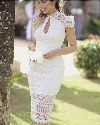Vestido Off White Camila em Renda
