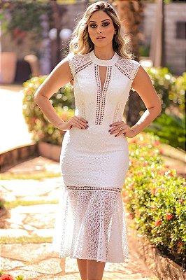 Vestido Branco Midi Graziela em Renda