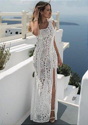 Vestido em Renda Yasmin com Fenda e Forro Nude