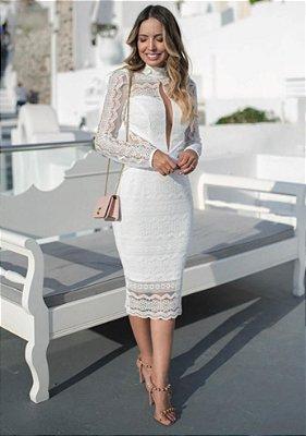 Vestido Cecília em Renda com Manga Longa