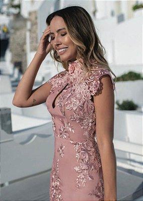 Vestido Rosê em Renda Bordada