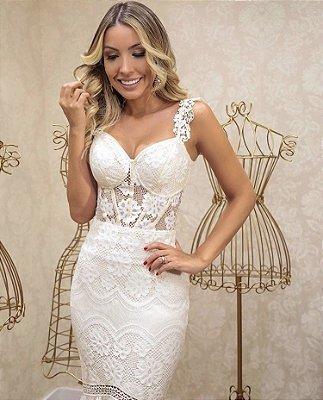 Vestido Santorini Off White em Renda com Fenda