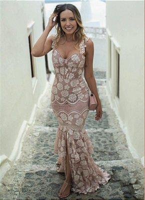 Vestido Santorini Rosê em Renda com Fenda