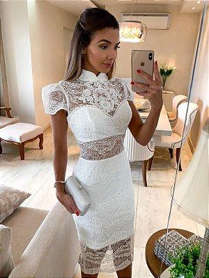 Vestido Ingrid Branco com Detalhes em Brilho