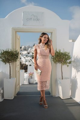 Vestido Ingrid Rosê com Mini Paête