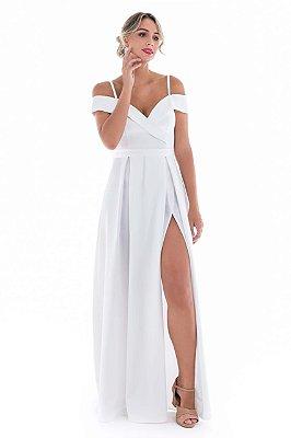 Vestido Paloma Branco com Fenda
