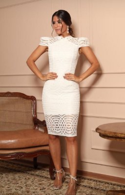 Vestido Branco Fabrícia com Detalhe nas Costas