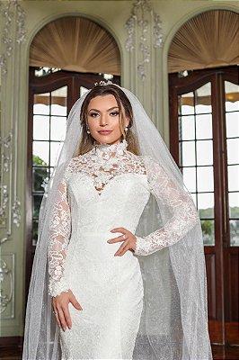 Vestido de Noiva Rebeca Bordado e Cauda