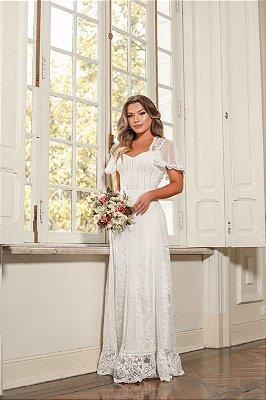 Vestido de Noiva Boho Rústico em Renda