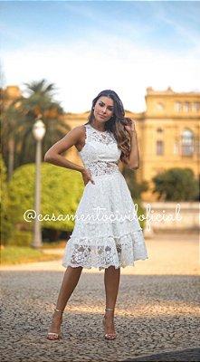 Vestido Lúcia Branco em Renda
