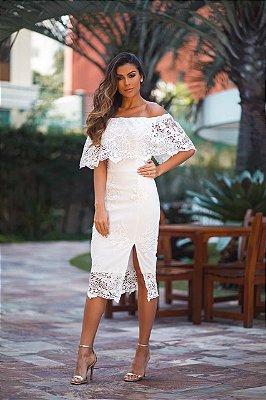 Vestido Marisa Branco com Detalhes em Renda