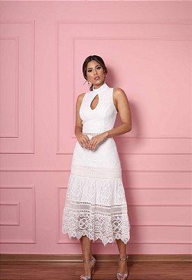 Vestido Karen Branco em Renda