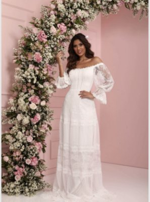 Vestido Samira Branco Longo em Renda