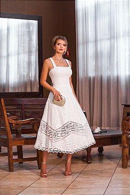 Vestido Deyse Midi Branco em Renda