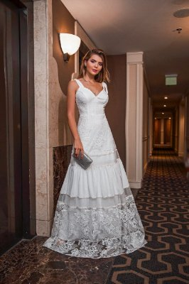 Vestido Márcia Longo Branco em Renda