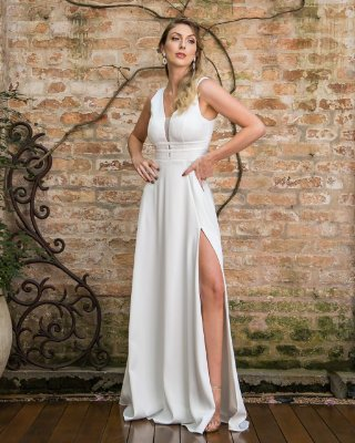 Vestido Andressa Branco com Fenda