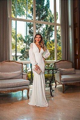 Vestido Cássia Off White Longo em Renda