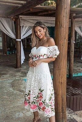 Vestido Heloísa em Renda com Flores