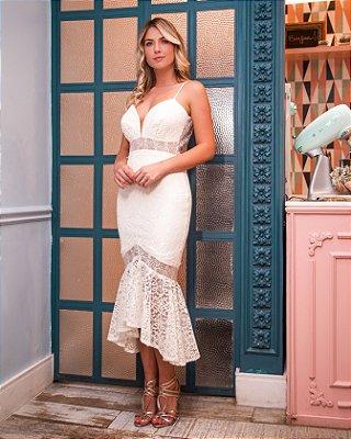 Vestido Larissa Off White Midi