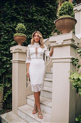 Vestido Jennifer Branco Midi em Renda