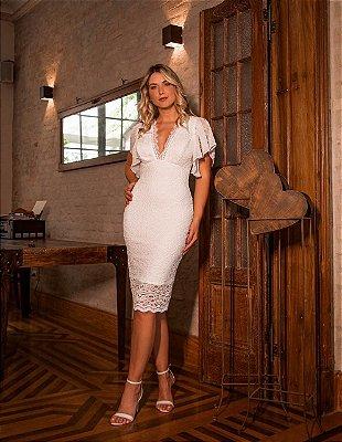 Vestido Paloma Branco em Renda com Decote
