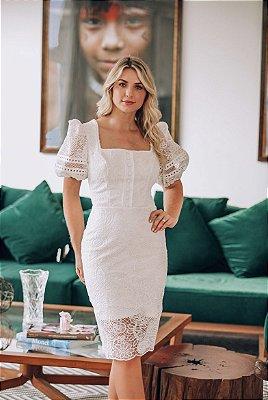 Vestido Cris Branco em Renda