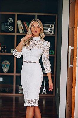 Vestido Maju Branco Midi em Renda