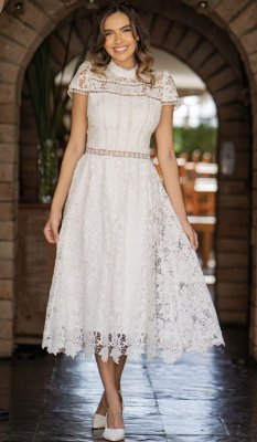 Vestido Mari Midi Branco em Renda