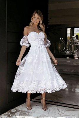 Vestido Aline Midi em Renda