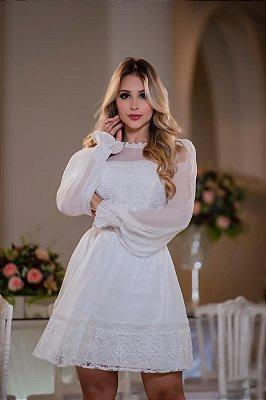 Vestido Ellen Branco em Renda com Decote