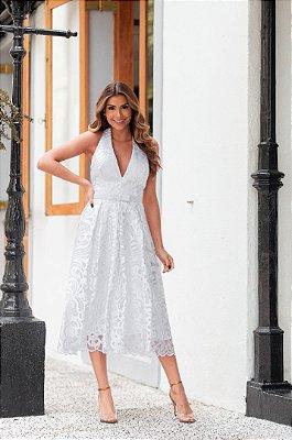 Vestido Samanta Frente Única Branco em Renda