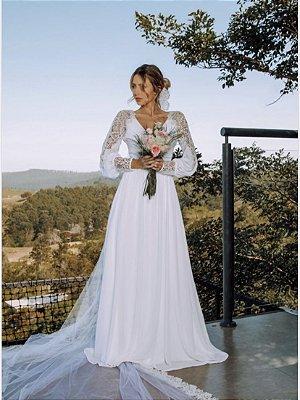 Vestido Mariana Longo com Manga Longa
