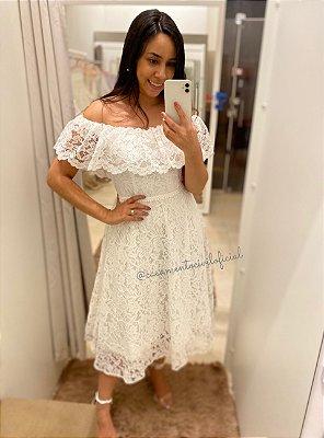 Vestido Letícia Branco Ombro a Ombro em Renda