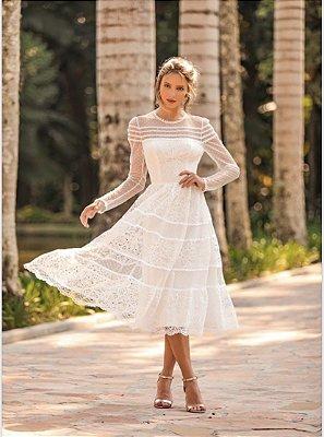 Vestido Camila Branco em Renda