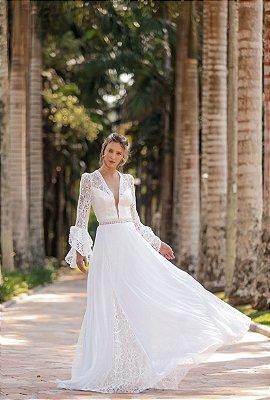 Vestido Amanda Longo com Detalhes em Renda