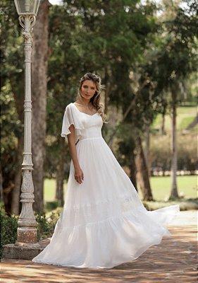 Vestido Isabela Branco com Detalhes em Renda