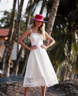 Vestido Sabrina Midi Branco em Renda