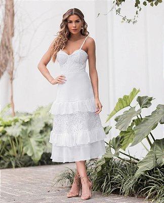 Vestido Valentina Midi com Alcinha e Renda