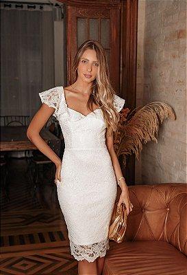 Vestido Thaís Branco em Renda com Decote Costas